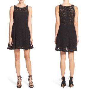 BB Dakota Lace Fit & Flare Dress Sz 8 Black